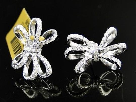 Other White,Gold,10k,Genuine,Diamond,Bow,Ribbon,Stud,Earrings,1.0,Ct