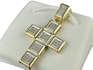 10k,Mens,Ladies,Mini,Diamond,Cross,Charm,Pendant,.25,Ct
