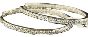 14k,Ladies,White,Gold,Diamond,Hoops,Earrings,1.27ct