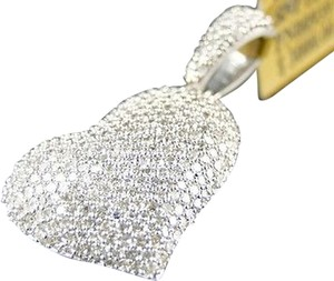 10k,White,Gold,Ladies,Puffed,Heart,Pave,Set,Clear,Diamond,Pendantcharm,.80,Ct