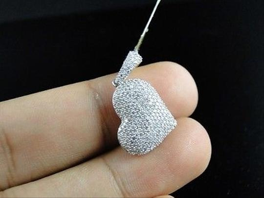 Other 10k,White,Gold,Ladies,Puffed,Heart,Pave,Set,Clear,Diamond,Pendantcharm,.80,Ct