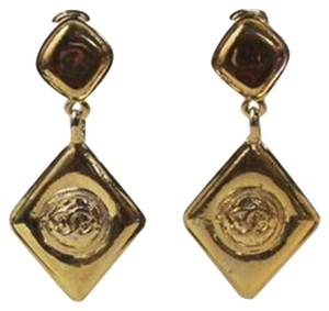 Chanel Gold Drop Signature Dangle Earrings Clip On