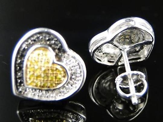 Other Womens,Heart,Pave,Diamond,Black,Canary,Stud,Earrings