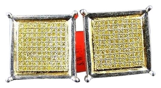 Other Mens,White,Gold,Finish,Canary,Diamond,15,Mm,Bezel,4,Prong,Studs,Earrings,1,Ct