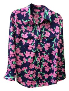 Lilly Pulitzer Button Down Shirt Blue with pink flower print
