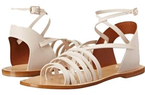 Band of Outsiders Leather Strappy Made In Italy Gladiator Sandals Cream and tan Flats