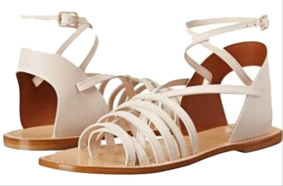 26ccdf4ef1e4 Band of Outsiders Leather Strappy Made In Italy Gladiator Sandals Cream and tan  Flats Image 0 ...
