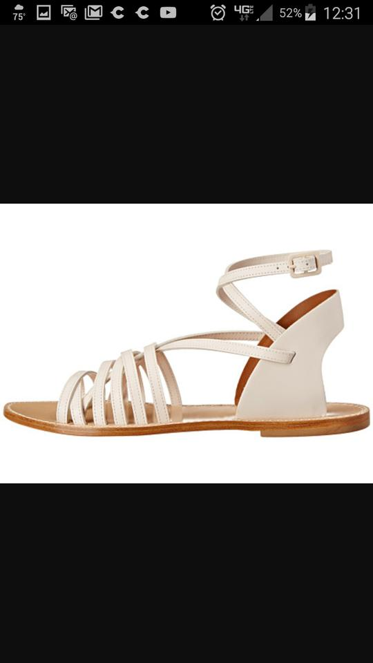 7323d6fc39ab Band of Outsiders Leather Strappy Made In Italy Gladiator Sandals Cream and tan  Flats Image 6. 1234567