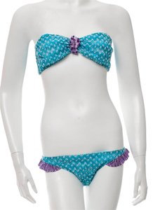 Missoni Blue, Multicolor Missoni Strapless Patterned Two-Piece Swimsuit 8M
