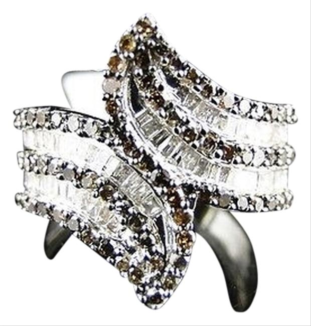 White Gold Finish Ladies 20mm Brownwhite Diamond Fashion Band Ring 1.30 Ct White Gold Finish Ladies 20mm Brownwhite Diamond Fashion Band Ring 1.30 Ct Image 1