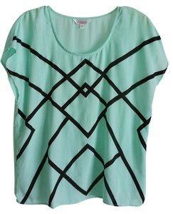 Charming Charlie Geometric Pattern Boxy Chiffon Top Mint