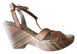 Jeannot Studded Leather Wedge Braided Camel Wedges
