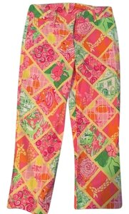 Lilly Pulitzer Capri/Cropped Pants Pink, green, multi color