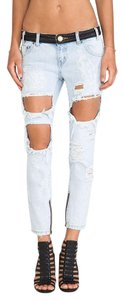 One Teaspoon Leather Distressed New Boyfriend Cut Jeans