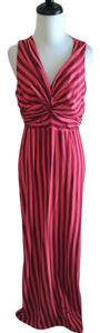 Maroon and Pink Maxi Dress by Synergy Organic Clothing Striped Sleeveless Cotton Long