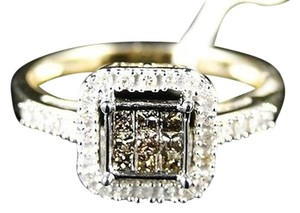 Other 10k,Womens,Yellow,Gold,Brown,Princess,Cut,Diamond,Ring