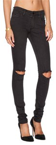 Restricted Distressed Denim Knee Slits Skinny Jeans-Dark Rinse