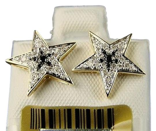 Other 10k,Yellow,Gold,Mens,Ladies,Star,Shape,Black,Diamond,Xl,Stud,Earrings