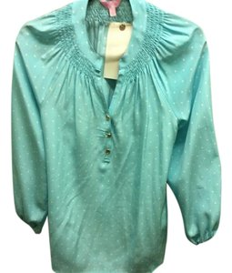 Lilly Pulitzer 100% Silk Dot Goldtone Hardware Designer Monogram Loose Fit Top Light blue with white polka dots