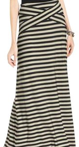 ECI New York Maxi Skirt Black and white striped