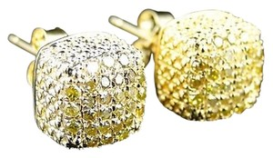 Menladies,Ice,Cube,3d,Canary,Diamond,Stud,Earrings,7mm