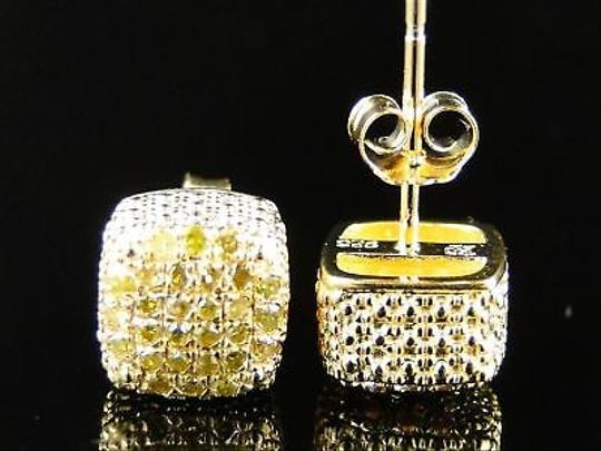Other Menladies,Ice,Cube,3d,Canary,Diamond,Stud,Earrings,7mm