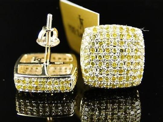 Other 10k,Ice,Cube,Block,Canary,Mens,Diamond,Stud,Earrings