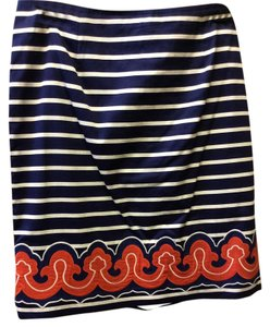 Vineyard Vines Fun To Wear 100% Fully Lined Vivid Colors Skirt Blue & White Stripe, Orange & Blue Applique