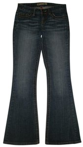 BKE 5 Pocket Style Zip Fly Cotton/spandex Low Rise Flare Leg Jeans-Dark Rinse