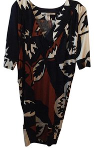 Diane von Furstenberg short dress Black, white, wine print. on Tradesy