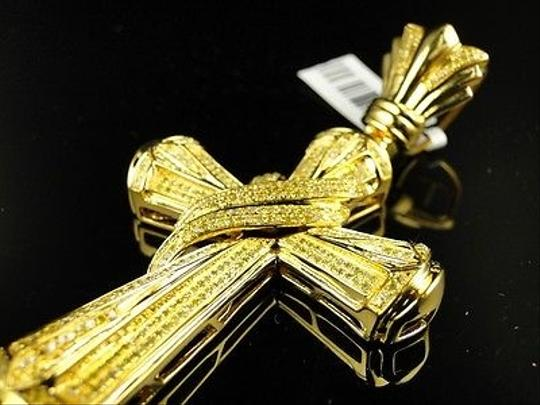 Jewelry Unlimited Mens Yellow Gold Finish Dual Canary Ribbon Diamond Cross 1.5.Ct