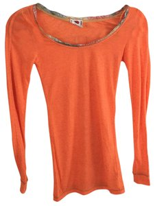 Free People Shirt Long Sleeve Casual T Shirt Orange