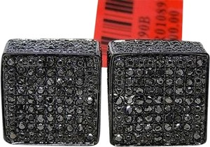 ,Mens,Ladies,Ice,Cube,3d,Black,Diamond,Stud,Earrings,13mm