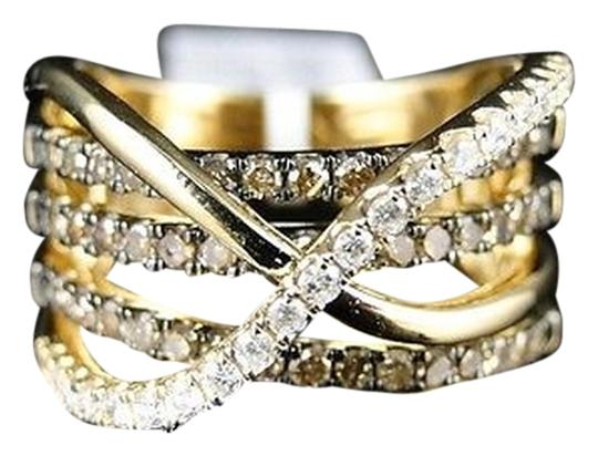 Other 14k,Ladies,Womens,Yellow,Gold,Brown,White,Diamond,Engagement,Band,Ring,.96,C