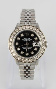 Rolex Stainless Steel Watch with Aftermarket Diamond Dial and Bezel