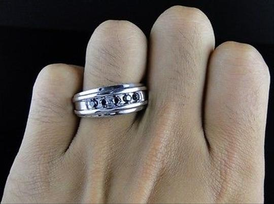 Other 10k,Mens,White,Gold,Genuine,5,Stone,Round,Black,Diamond,Wedding,Band,Ring,14,Ct