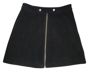 Topshop Suede 70s A-line Leather Mini Skirt Black