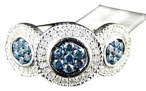 14k,Ladies,Womens,White,Gold,Bluewhite,Cluster,Round,Cut,Diamond,Ring,12,Ct