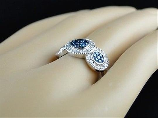 Other 14k,Ladies,Womens,White,Gold,Bluewhite,Cluster,Round,Cut,Diamond,Ring,12,Ct