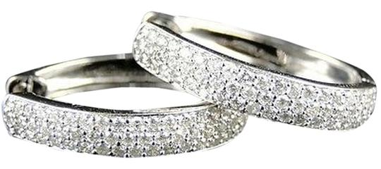Other 14k,Womens,Ladies,White,Gold,Oval,Pave,Diamond,Hoops,Earrings,25,Mm,1.5,Ct