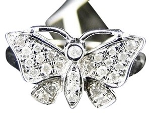 ,White,Gold,Finish,Ladies,Women,White,Diamond,Butterfly,Fashion,Designer,Ring