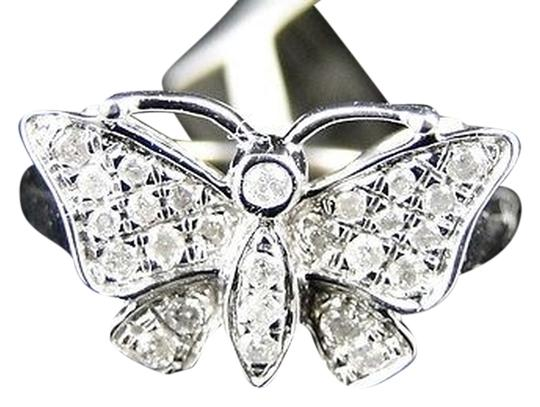 Other ,White,Gold,Finish,Ladies,Women,White,Diamond,Butterfly,Fashion,Designer,Ring