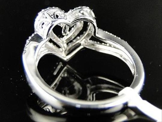 Jewelry Unlimited Ladies White Gold Finish Love Heart Fashion Diamond Ring 0.10 Ct