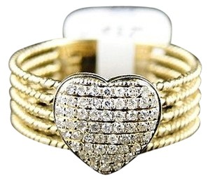Other 14k,Womens,Ladies,Yellow,Gold,Pave,Round,Diamond,Promise,Love,Heart,Ring,14,Ct