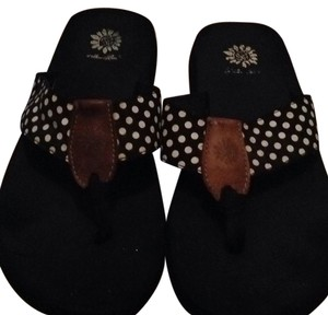 Yellow Box Black & white poka dot Sandals