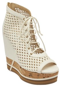 Jimmy Choo Perforated Leather Cork White Wedges