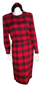 Akris Vintage Red Plaid Bergdorf Goodman Dress