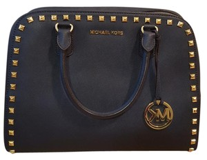 Michael Kors Studded Stud Saffiano Satchel in Navy
