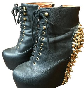 Jeffrey Campbell Black with gold spikes Boots