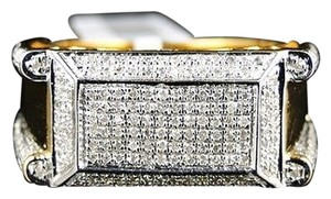 Other Mens,Yellow,Gold,Finish,Xl,Genuine,Round,Cut,Diamond,Band,Pinky,Ring,.75,Ct